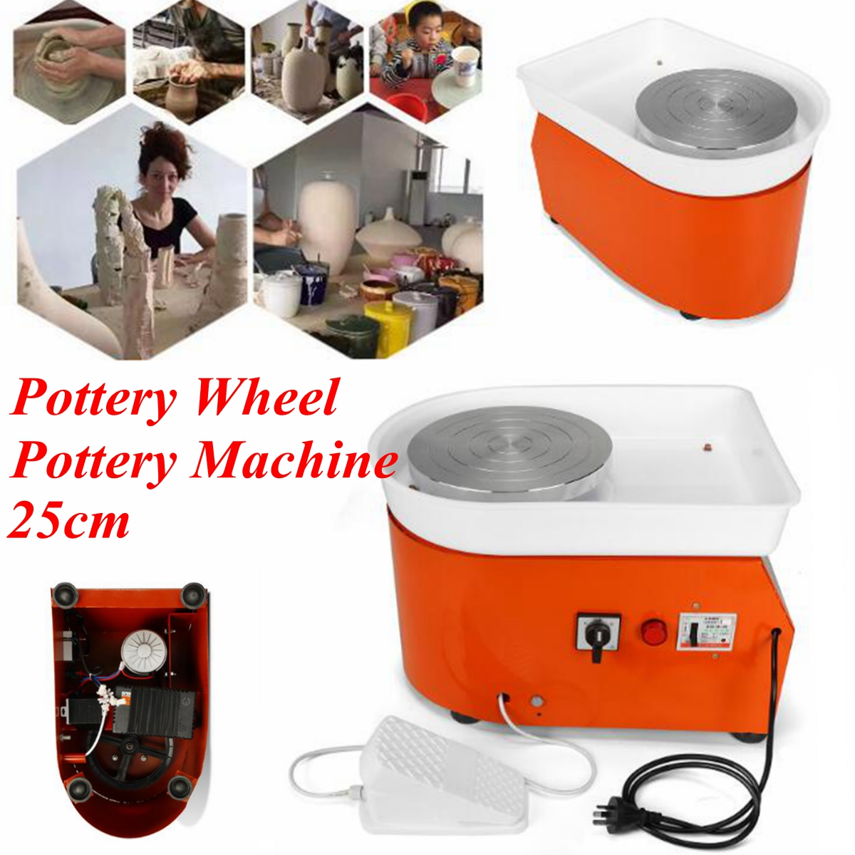 Poterie roue Machine 25 cm AC 220 V 250 W Flexible pied pédale céramique travail céramique argile Art EU/AU/US avec Mobile lisse à faible bruit
