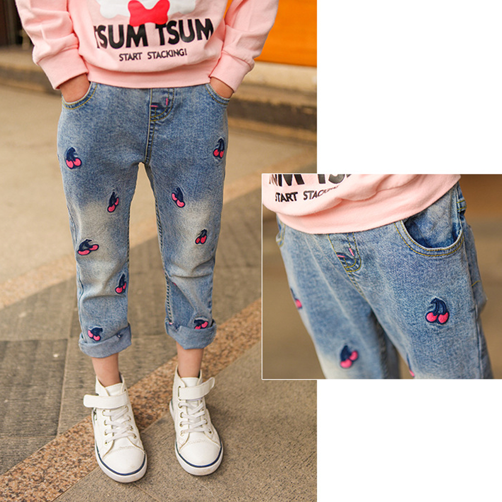 Girls Jeans Kids Children's Jeans For Girl Clothing 2018 Summer Casual Baby ripped Pants Skinny Denim Pant Children Trousers New sexy women denim light blue skinny jeans crochet lace party female carve flower pants for women plus size s 3xl clothing k096