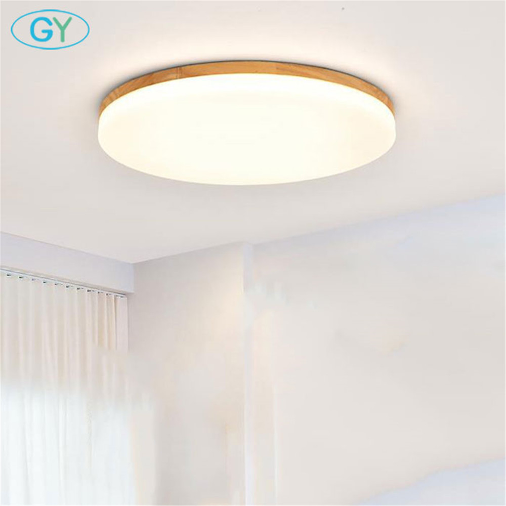 Nordic ultra-thin led ceiling lamp round simple wood 15W 24W 36W LED ceiling lamp modern bedroom living room lamp study lamp modern led ceiling lamp aisle simple living room porch balcony study room long lamp