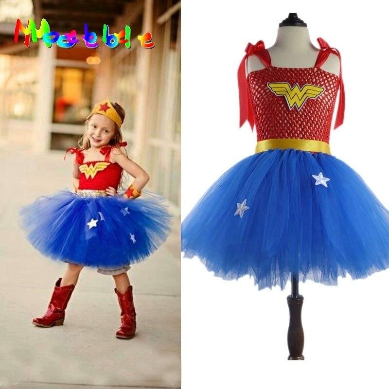 Superhero Wonder Woman Girl Tutu Dress Kids Cosplay Costume Christmas Halloween Dress Up Tutu Dresses Baby Photo Props