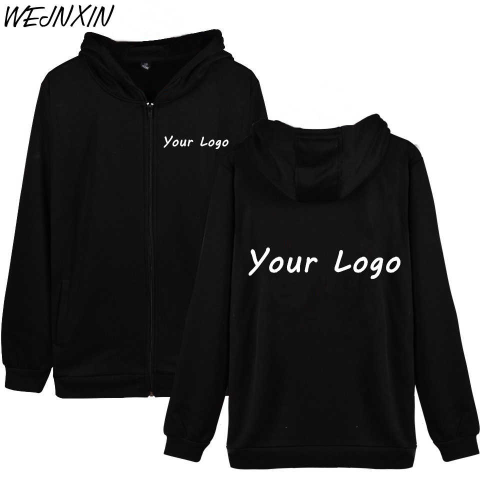 WEJNXIN DIY Custom Zipper Coat Men/Women Your Own Design Text Photo Print Sweatshirt Hoodies For Couple Love Clothes Plus Size