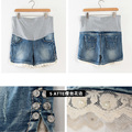 M-XXL Maternity Shorts Light Blue Cotton Lace Beading Large Pregnancy Elastic Shorts Free Shiiping
