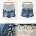 M-xxl de la maternidad Shorts azul claro encaje de algodón que rebordea gran embarazo pantalones cortos elásticos Shiiping libre