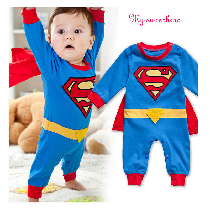 TINOLULING 2017 Newborn Baby Boy Clothes Bebe Cotton Short Sleeve Rompers Costume Superman Birthday Body - and Children Store store
