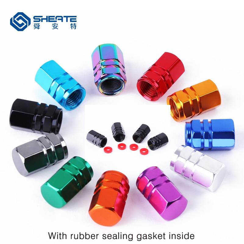 SHEATE 4PCS 11 Colorful Car Tire Wheel Valve Cap Gas Leak Proof Rubber Sealing Gasket Tyre Caps For Moto Bike Vehicle Wheels