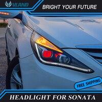 Автомобильные светодиодные полосы передние лампы для hyundai Sonata светодиодный фары 2013 2014 2015 Ангел глаз биксеноновые фары парковочные противот