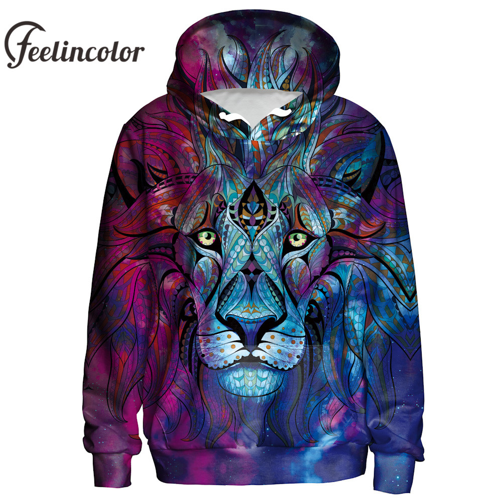 Feelincolor New Arrival 3D Hoodies Lion Hoodie Men Women Sweatshirt Paisley Flowers Hooded Autumn Winter Thin
