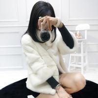 Short mink fur coat women stand collar whole mink fur female outwear