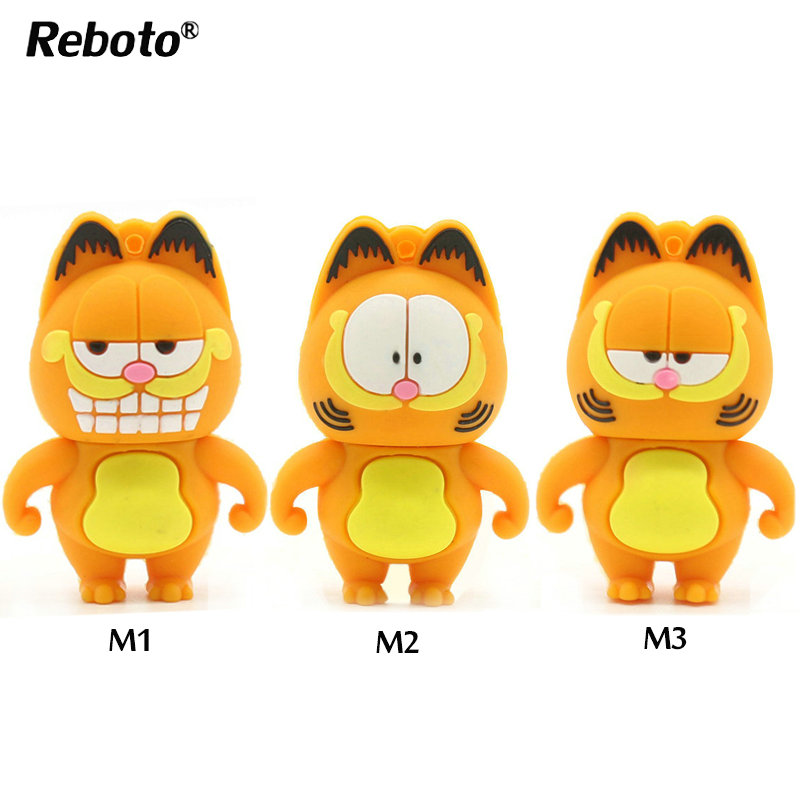 Hot Sale Cartoon Garfield USB Flash Drive Pendrive 4GB 8GB 16GB 32GB 64GB USB Stick External Memory Storage Pen Drive