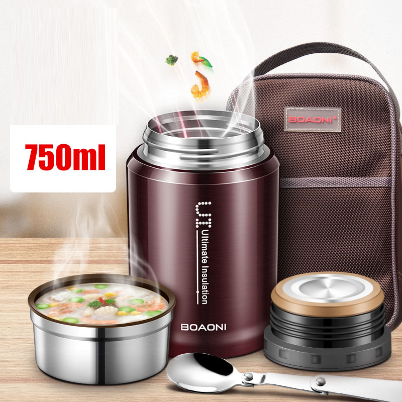 BOAONI 750ml Thermal Food Lunch Box Leak-Proof Stainless Steel Bento Box Kids Container For Soup Portable Picnic School Food BoxBOAONI 750ml Thermal Food Lunch Box Leak-Proof Stainless Steel Bento Box Kids Container For Soup Portable Picnic School Food Box