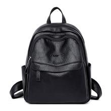 حقيبة ظهر نسائية تصميم أنثوي حقيبة جلدية عالية الجودة حقائب ظهر للنساء والفتيات موضة حقائب مدرسية ماركة حقائب سفر سوداء