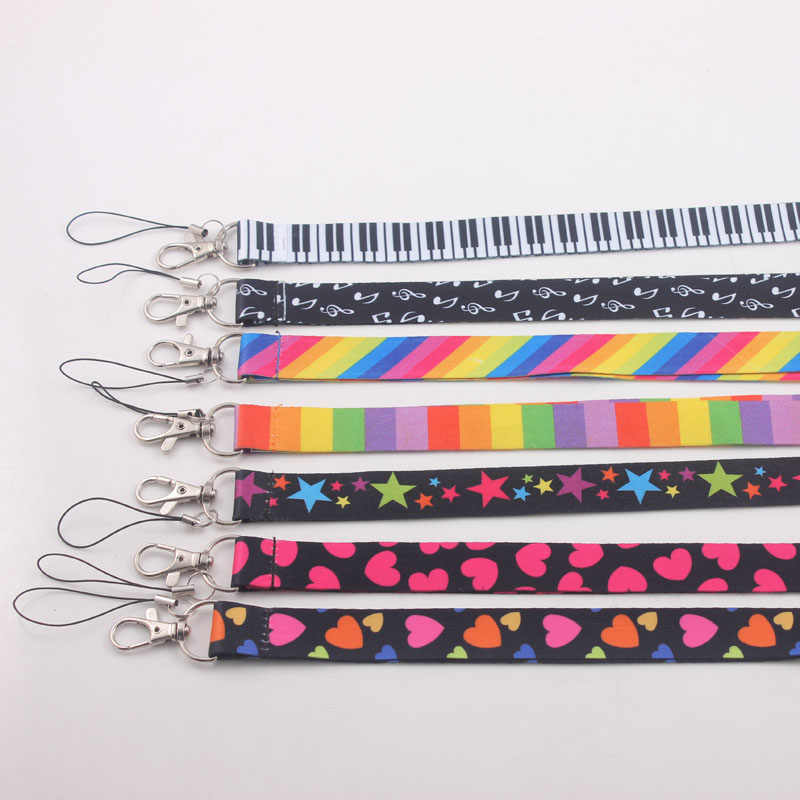 Piano Star Rainbow Heart Neck Strap Lanyards for keys ID Card Gym Mobile Phone Straps USB badge holder DIY Hang Rope 7pcs/lot