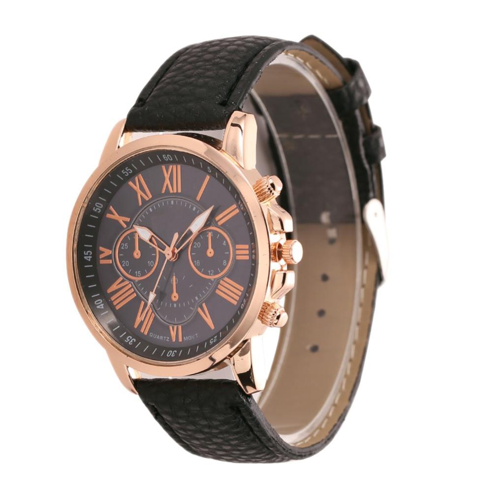 2016 nova luxo genebra mulheres relógio de couro falso analógico Casual Sports relógio de pulso de quartzo