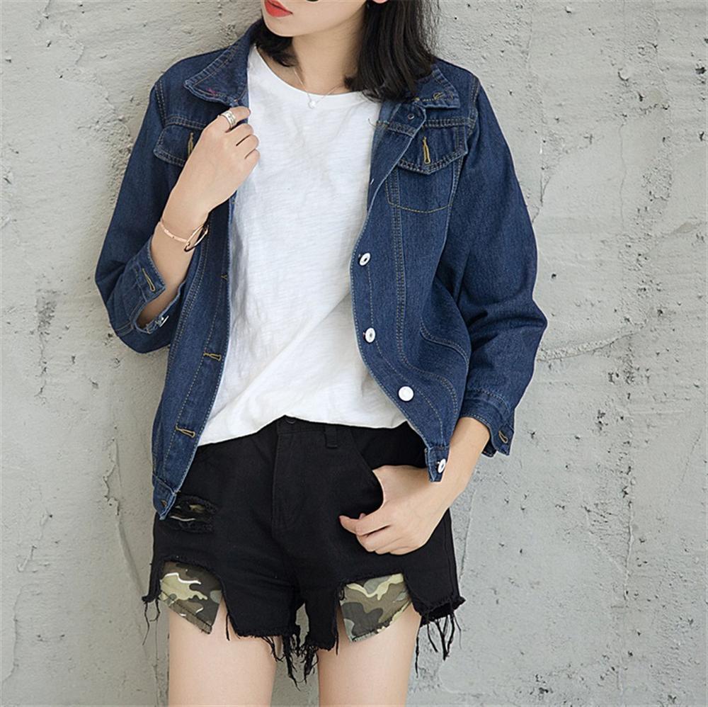 2018 Denim Jacket Spring Autumn Loose Denim Coat Long Sleeves Jeans Jackets Women Clothing Dark Blue Female