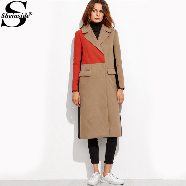 Sheinside Patchwork Double Breasted Coats Women Camel Long Sleeve Color Block Casual Long Outer Winter Work Ladies Coat 3