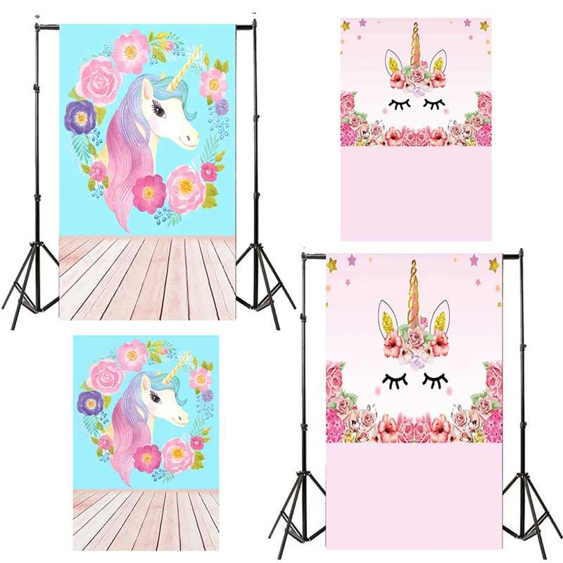 2018 Unicorn Party Flower Birthday Baby Newborn Photography Backgrounds Customized Photographic Backdrops For Photo Studio