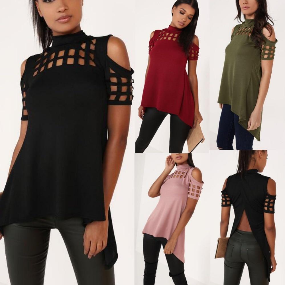 Fashion New Women Plus Size Tops 2018 Turtleneck Cage Cutout Cold Shoulder Split Back Top Blouse Casual Shirts Blusas Femininas