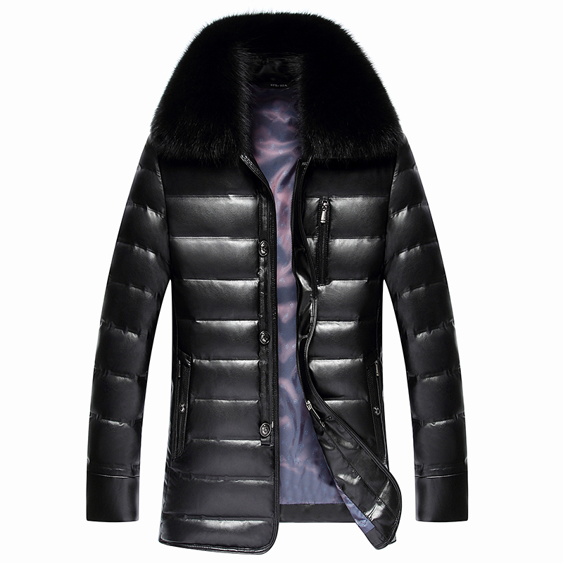 2019 New Men's PU Leather Down Jacket Men coat Fox Fur collar Coat Men Leather Jackets Coats Winter Down Coat Warm Parka
