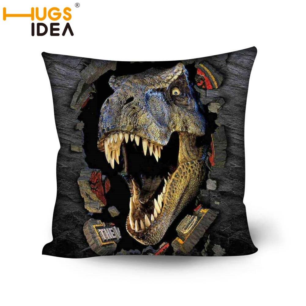 Hugsidea Cool Dinosaur Printing Cushion Cover For Sofa 3d