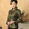 Праздничная распродажа зеленый женский сатин пальто урожай с длинным рукавом тан-костюм печать одежда цветочные размер куртка S к XXXL T030