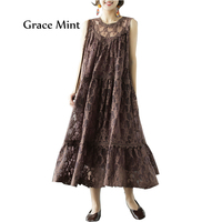 Women Jumper Dress Summer New Organza Hollow Out Vintage Embroidery Sleeveless Dress with Lining Dress