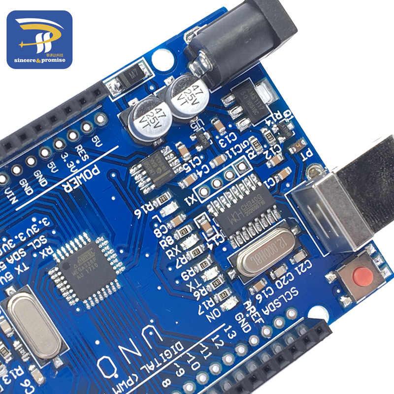Un juego UNO R3 (CH340G) MEGA328P para Arduino UNO R3 con Cable USB ATMEGA328P-AU Placa de desarrollo
