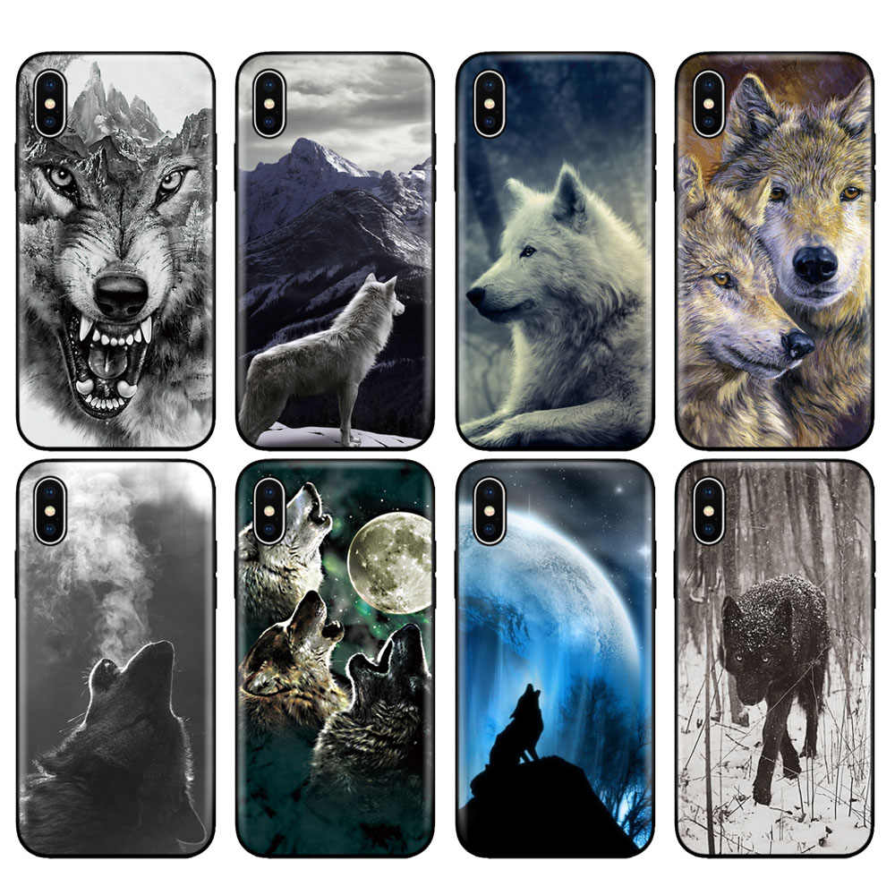 Capa de silicone tpu preta para iphone, 5 5S se 6 6s 7 8 plus x 10 case para iphone xr xs 11 pro max, capinha para iphone wolf animal