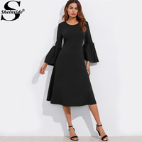 Sheinside Exaggerate Flare Sleeve Fit & Flare Dress Women Black Round Neck 3/4 Sleeve Party Dress 2017 Elegant A Line Dress