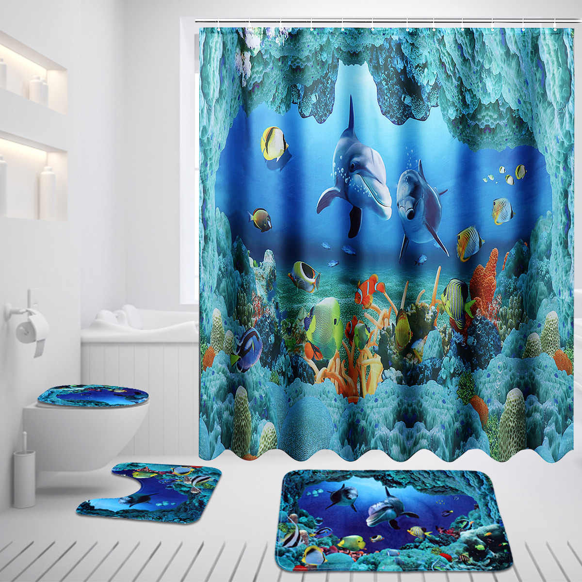 Ocean Dolphin Deep Sea Shower Curtain Polyester Waterproof Curtains for Bathroom + Pedestal Rug Lid Toilet Cover Bath Mat Set