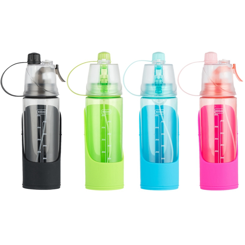 600ml Outdoor Camping Portable Human & Dog Sports Water Bottle, Removable 3 In 1 Pet Bowl Water Dispenser Cooling Mist And Drink