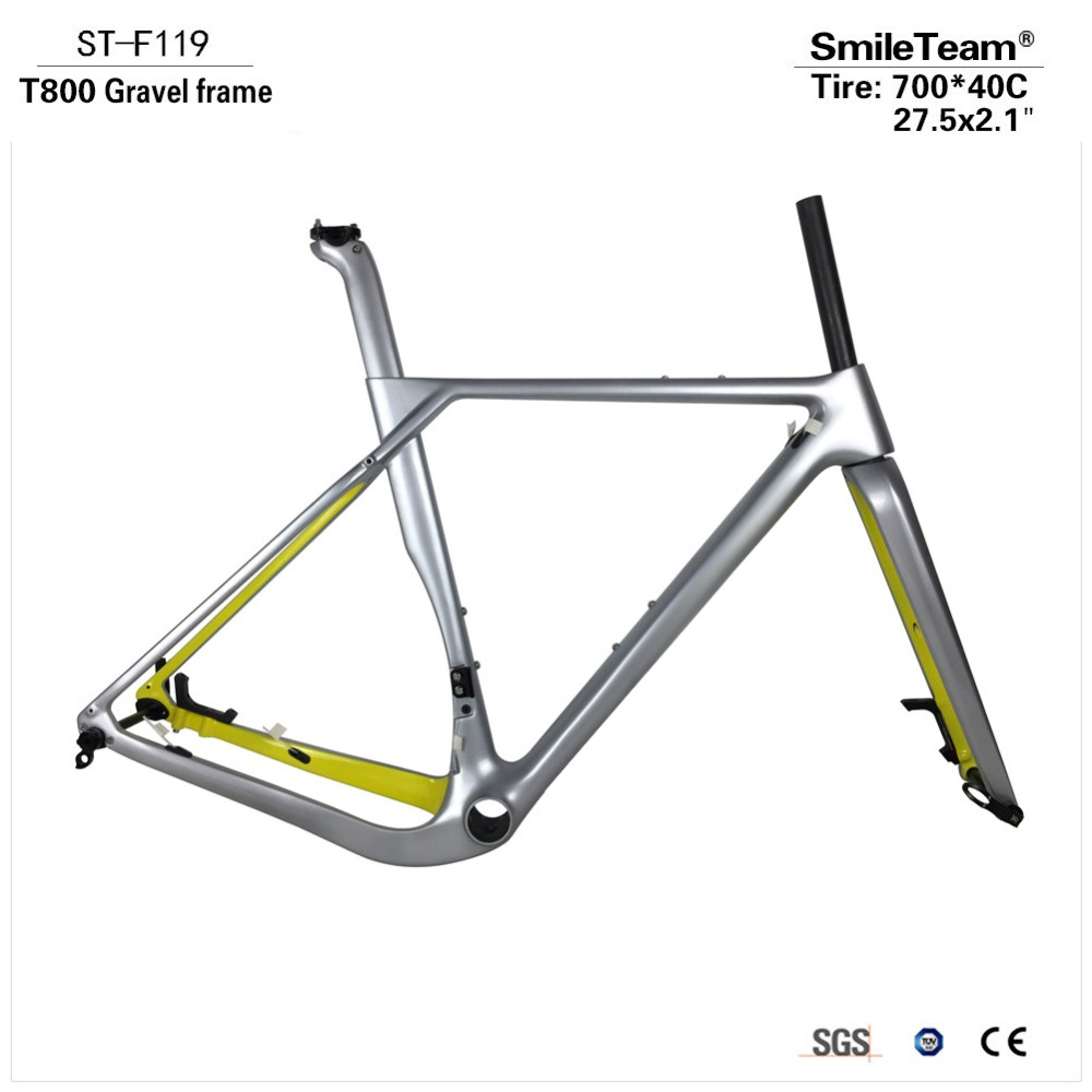 New Modle Carbon Gravel Bike , Gravel Frame with 700*40c <font><b>Tires</b></font>, Cyclocross Disc Frame with Brake Adapter Thru Axle Road Frame