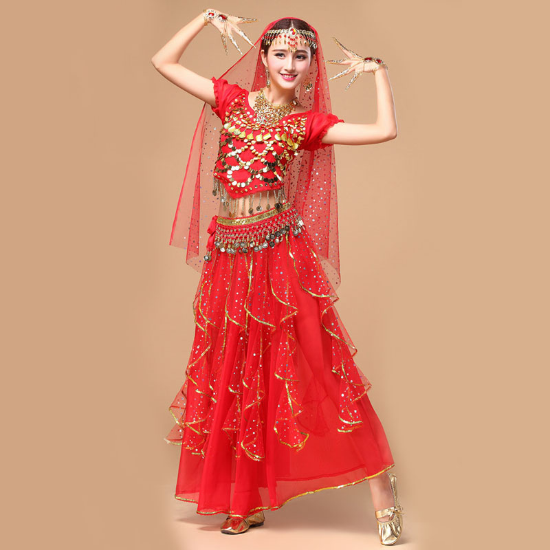 New Lady Belly Dance Costume Womens Belly Dancing Costume Bollywood Costume Indian Dress Belly dance Dress 5PCS/Set 6 Colors