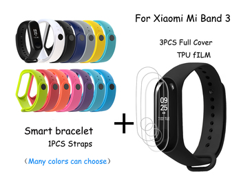 For Xiaomi Mi Band 3 SmartBand Accessorie Full Cover Soft TPU Protection Film Bracelet Screen Protector Wristband Silicone Strap