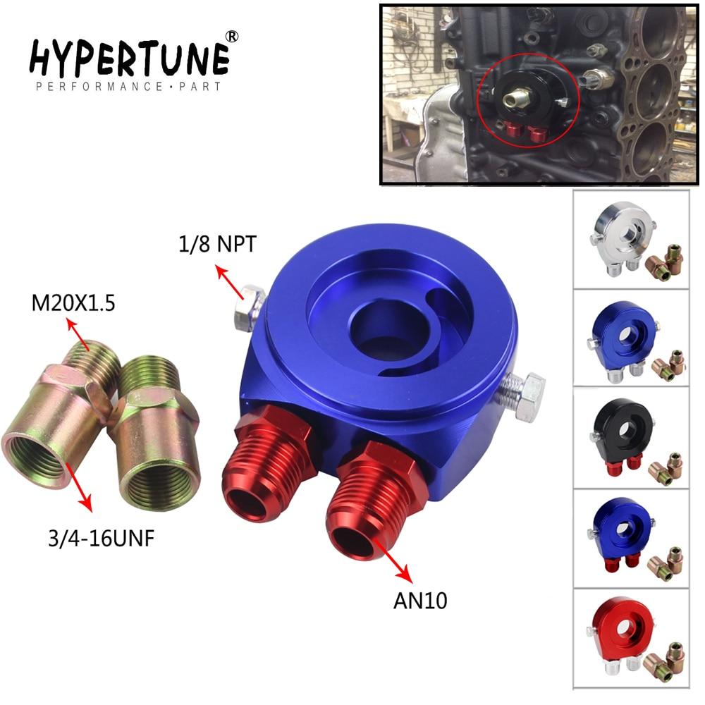 Hypertune - M20X1.5 3/4-16UNF Oil Filter Cooler Aluminum Sandwich Re Locator Plate Adapter 1/8Npt AN10 HT6721