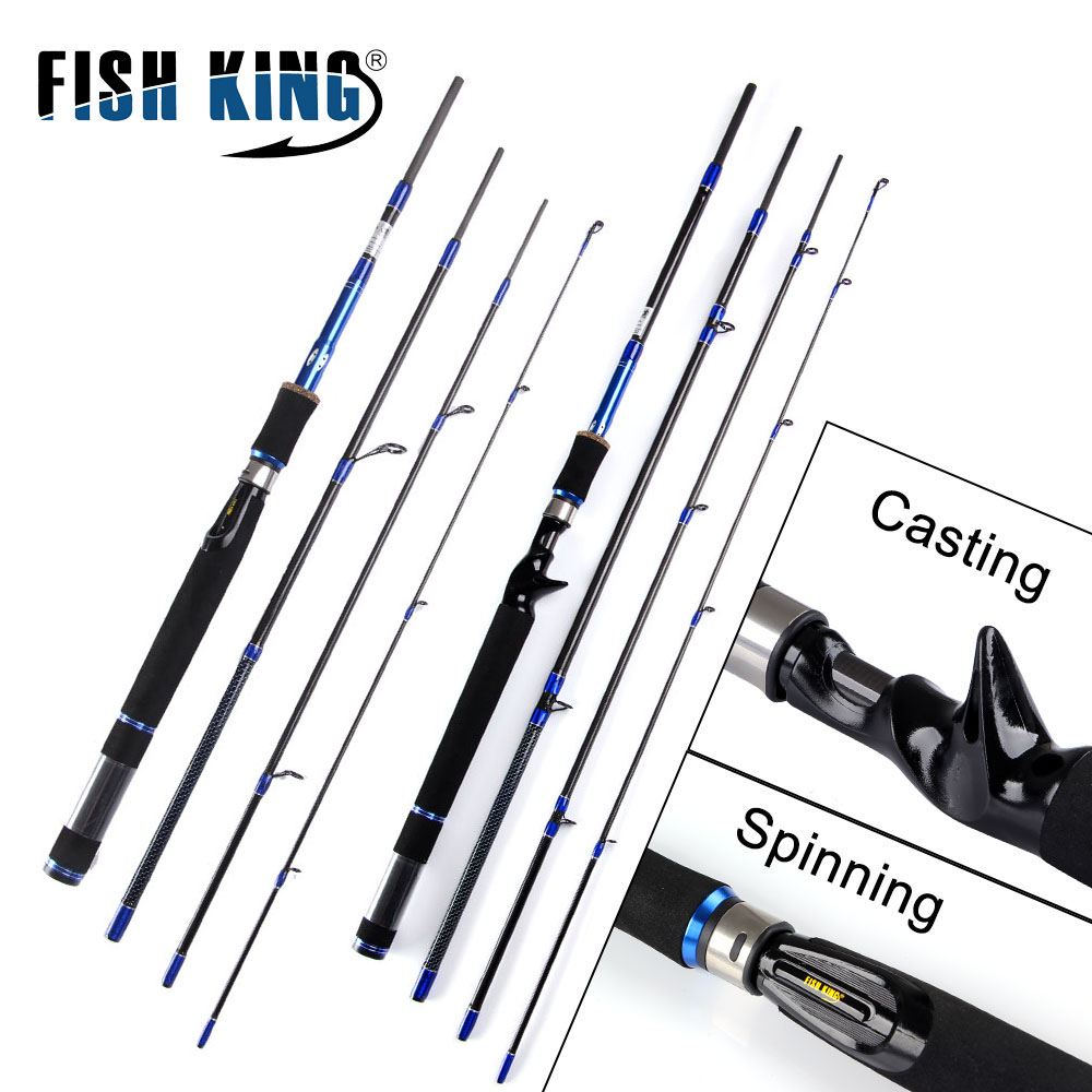FISH KING 99% Carbon Lure Fishing Rod 2.1m/2.4m/2.7m Spinning Casting Rod C.W 10-30g/15-40g 4 Section Fishing Rod Fishing Tackle fish king 99% carbon 2 1m 2 7m 4 section soft lure fishing rod lure weight 15 40g spinning fishing rod for lure fishing