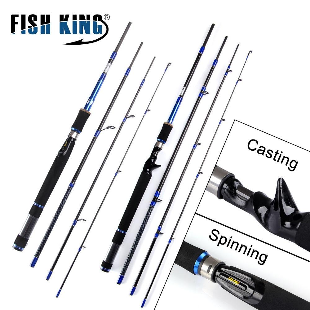 FISH KING 99% Carbon Lure Fishing Rod 2.1m/2.4m/2.7m Spinning Casting Rod C.W 10-30g/15-40g 4 Section Fishing Rod Fishing Tackle