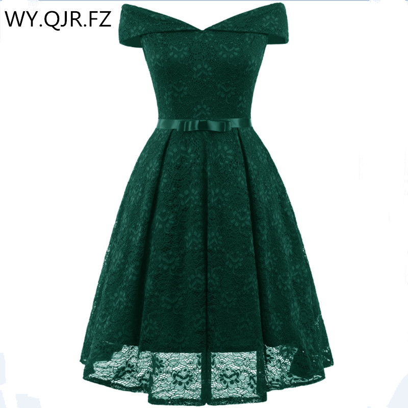 CD1603G#Green Boat Neck Bow Lace Sexy Ping Short Bridesmaid Dresses Bride Toast Wedding Party Dress Gown Prom Wholesale Clothi