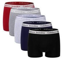 LANGSHA – Boxer en coton pour homme, LOT de 4 pièces, sous-vêtements doux, couleur unie, grande taille, confort, sous-vêtements de marque
