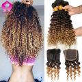 Ombre Brazilian Virgin Hair Deep Wave With Closure 3 Bundles Ombre Brazilian Human Hair Bundles With Free Part Closure