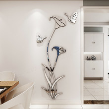 New arrival Lily butterfly Acrylic DIY wall sticker Bedroom Morning glory wall sticker TV background wall decoration