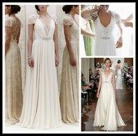 Vintage Jenny Packham Summer Beach Wedding Dresses Sexy Deep V Neck Cap Sleeve Lace Beads Chiffon Sheath Bridal Gown Vestidos