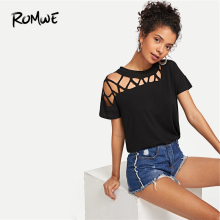 ROMWE Cut Out Solid Tunic Tee 2019 New Stylish Black Summer Short Sleeve Women T-shirt Fabulous Female Clothing Tops