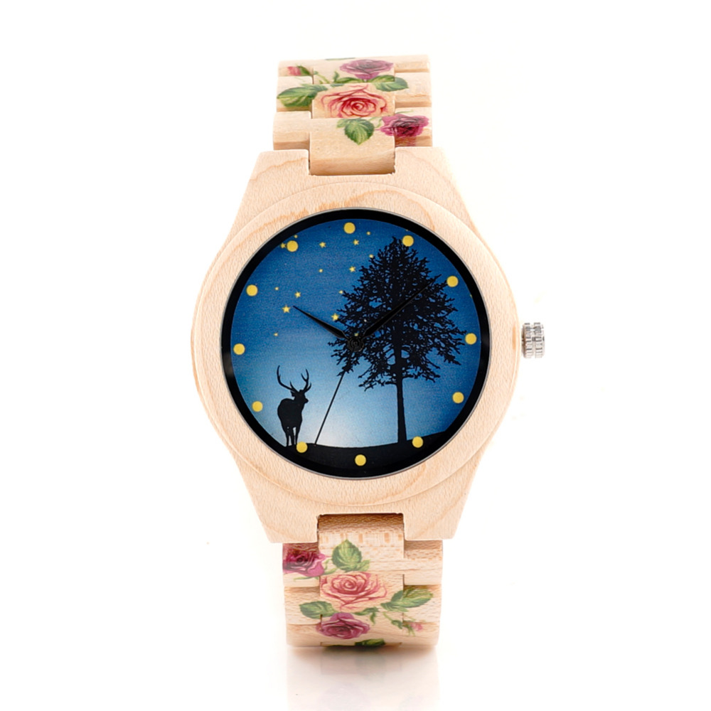 BOBO BIRD Flower Designer Men Wood Watches with Flowe %