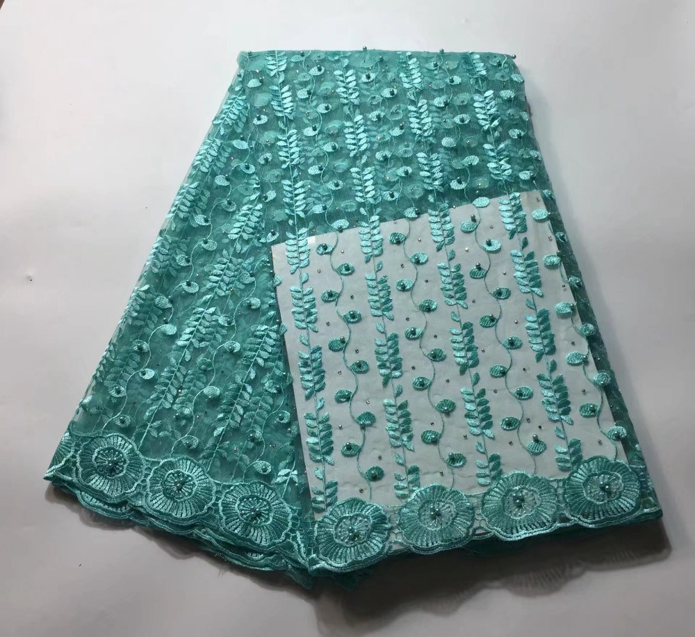 French tulle beautiful nice African lace fabric mesh net with beads ...