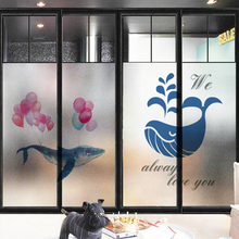 Frosted glass stickers Nordic Ins Cartoon dolphin Bathrooms balcony door windows electrostatic transparent opaque film