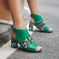 2019 Novos Sapatos Femininos Sandálias Tamanho Grande 34-43 Classics Alta Hoof Heels Sapatas Da Mulher Da Marca de Impressão Mulheres Verão gladiador das Sandálias