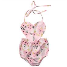 Baby Girl Jumpsuit Bodysuit Sleeveless Halter Outfits Sunsuit Clothing Newborn Baby Girls Clothes Tops Floral Kids Flower