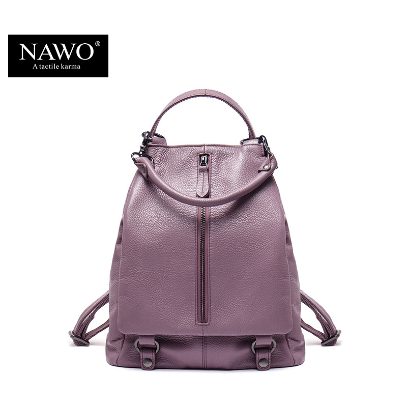 NAWO New Famous Brand Backpack Women Backpacks Solid Fashion School Bags for Girls Genuine Leather Backpack Mochilas Mujer men women fashion fashion hannah martin men date stainless steel leather analog quartz sport wrist watch dropshipping hot sale2