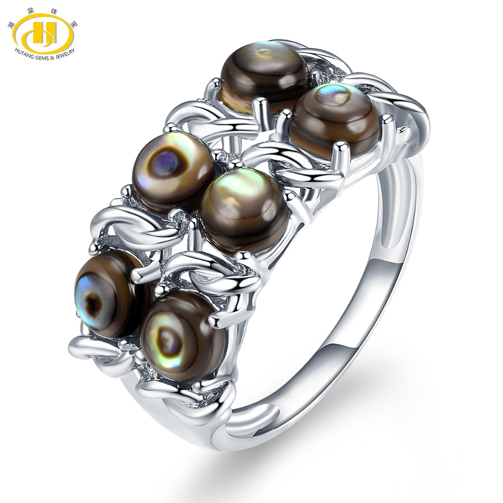 где купить Hutang Ocean Jewelry Natural Abalone Shell Ring Solid 925 Sterling Silver Jewelry Women Fine Fashion Free Shipping For Gift по лучшей цене