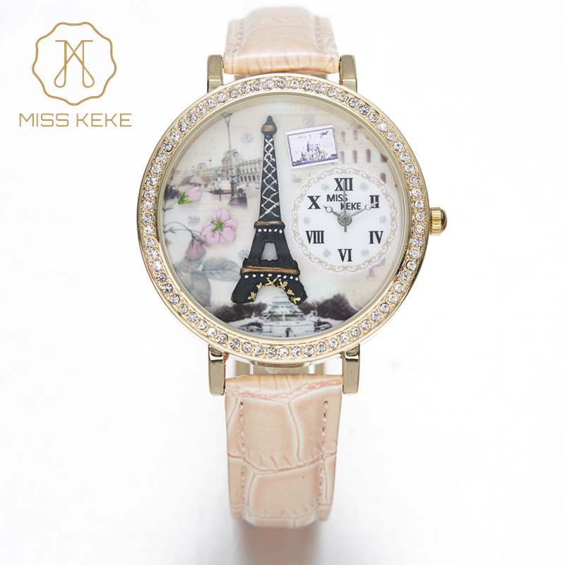 Sakura Cheery Miss Keke Clay 3d Eiffel Tow Clock Women Girls Watches Ladies Woman Fashion Montre Femme Leather Wristwatches 1810
